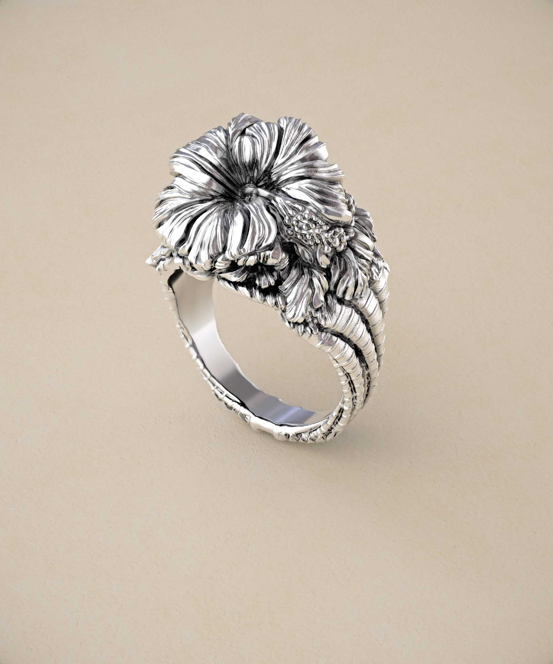 Fox and wolf jewelry flowering hawaiian hibiscus leaf ring with home statement rings izmirmasajfo