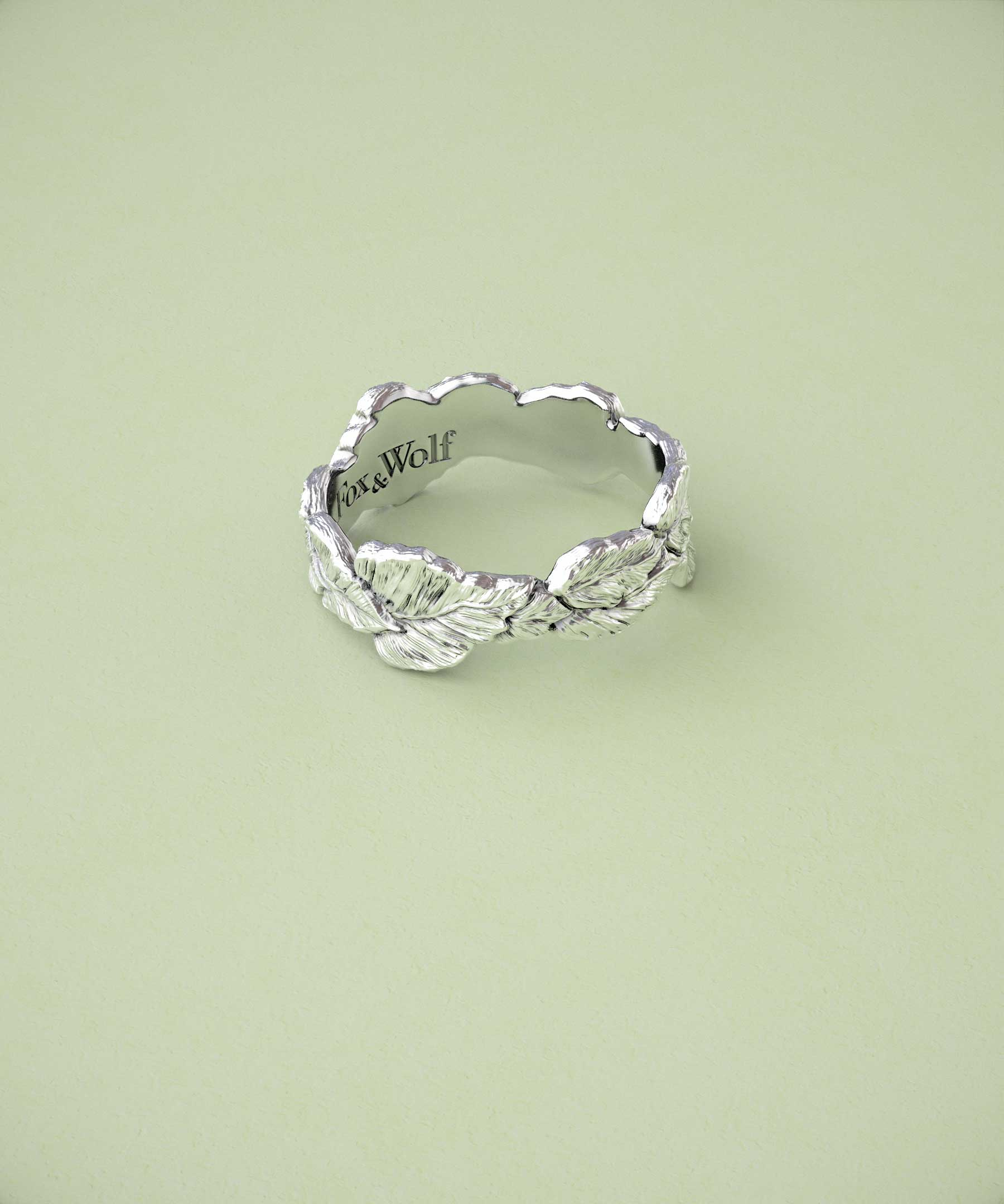aea2ccb4fb332 Fox and Wolf Jewelry - Leaf Ring Band In Silver